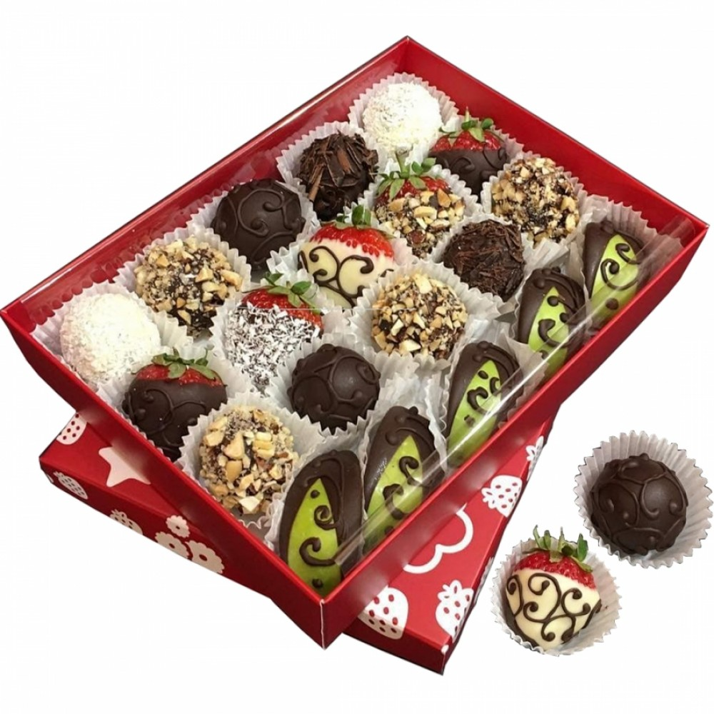Fruit in chocolate Strawberry Grapes Apple