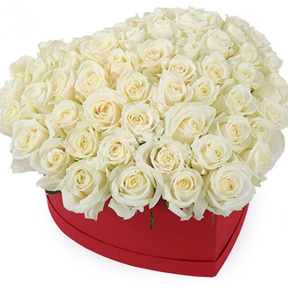 """51 белая роза """"Сердце"""""""
