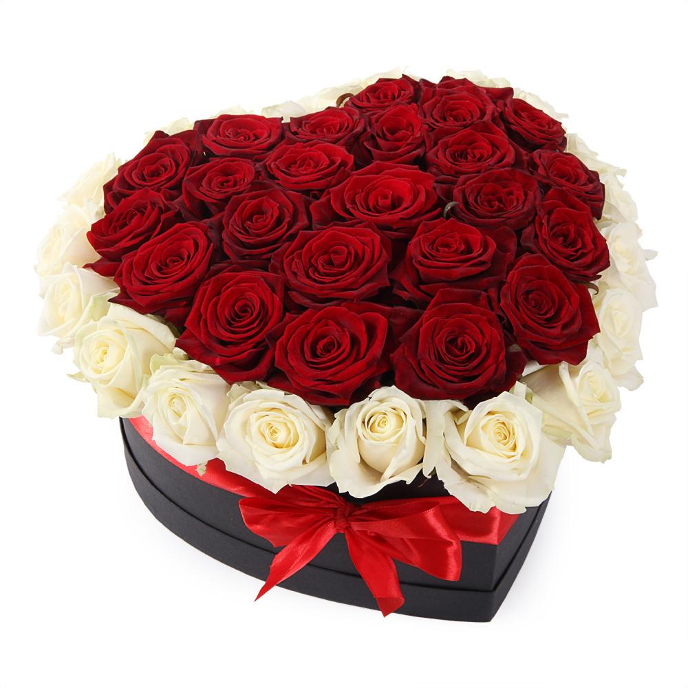 Розы в коробке сердце 2 цвета